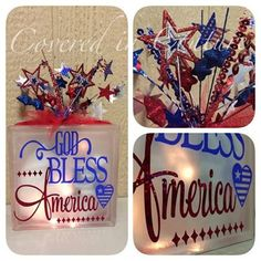God Bless America Glass Block Patriotic 4th of July on Etsy, $30.00 Painted Glass Blocks, Decorative Glass Blocks, Lighted Glass Blocks, Patriotic Crafts, Patriotic Decorations, July Crafts, Glass Cube, Glass Boxes, Fourth Of July Decor