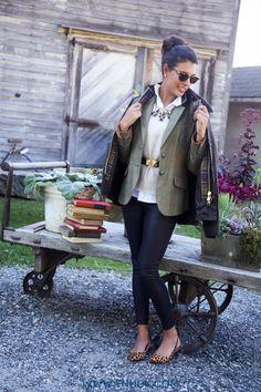 Barbour jacket over tweed