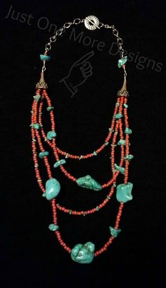 Turquoise Chip & Dyed Howlite with Red Glass Beads Multi-Strand Necklase