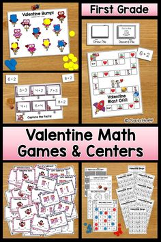 Your first graders will love practicing addition and subtraction facts within 12 using these fun games, task cards, and worksheets!  11 activities in all! Every game board and task card shown in color is also included in a black & white version. Perfect for Valentine centers, small groups, or independent practice!  #firstgrademath #ValentinesDayMath #additionfacts #subtractionfacts #mathcenters