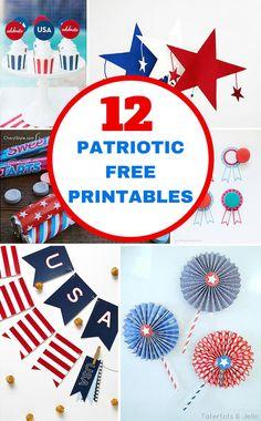 12 Patriotic 4th of July Free Printables.