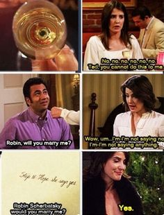 How she slowly warmed up to the idea is heart warming Would You Marry Me, I Meet You, Movie Facts, Funny Facts, Barney And Robin, How Met Your Mother, Robin Scherbatsky, Ted Mosby, Mothers Friend