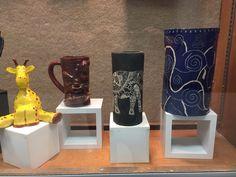 High school pottery display case. Seaman High School