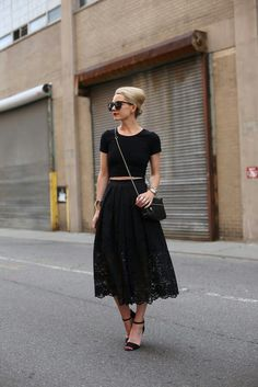 Perfect for: A dressy big-city date. The full lace skirt, slightly cropped top, and chic chignon combine perfectly for an upscale outfitWhere? A nice restaurant, the theater, ballet, or opera, a benefit, a hotel bar, a cocktail party.Photo via Atlantic-Pacific