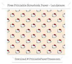 Free Landscape Antique White Small Hello Kitty Head Pattern Paper