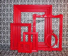 6 Really Red Picture Frames by DirtRoadDecor on Etsy, $27.00