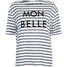I'm shopping Blue stripe mon belle linen t-shirt in the River Island iPhone app. T Shirt Vest, Love T Shirt, Sweatshirt, Winter Date Outfits, River Island Fashion, Linen Tshirts, T Shirts For Women, Clothes For Women, Clothes Sale