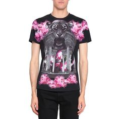 Richard Valentine Royal Tiger cotton t-shirt (€180) ❤ liked on Polyvore featuring tops, t-shirts, black, short sleeve tops, short sleeve t shirt, summer tees, cotton tee and summer t shirts