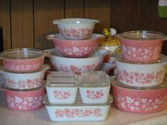 pink gooseberry pyrex complete set. so I can track what I need