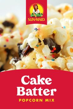 A spooky movie marathon calls for all the sweet treats! Get cozy, grab a blanket and enjoy Cake Batter Popcorn, made especially with #SunMaidRaisins. Cake Batter Popcorn, Popcorn Mix, Dried Raisins, Raisin Recipes, Movie Marathon, Mini Marshmallows, White Chocolate Chips, Sun Dried, Melted Butter