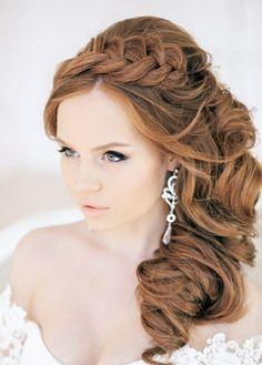 Brautfrisuren für lange Haare mit Zopf