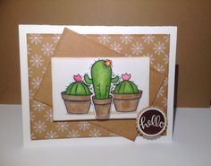 Kraft Cactus Card. Your Next Stamp Cactus and Flower Fun stamps and dies. Lawn Fawn Stitched Rectangles. Hello sentiment is embossed with Wow Chestnut embossing powder and is from Simon Says Stamp Sending Happy Thoughts.