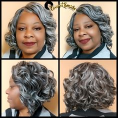 Freetress Niagara Crochet Braids cut into an inverted Bob. We did a custom color… - Modern Crotchet Braids, Crochet Braid Styles, Crochet Braids Hairstyles, Crochet Hair, Grey Curly Hair, Curly Hair Styles, Natural Hair Styles, Mom Hairstyles, Weave Hairstyles