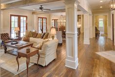 Country Style House Plan - 4 Beds 4.5 Baths 4852 Sq/Ft Plan #928-1 - Houseplans.com Country House Design, Country Style House Plans, Low Country Homes, Country Farmhouse, Modern Farmhouse, Modern Colonial, Farmhouse Plans, Country Interior, Living Room Remodel
