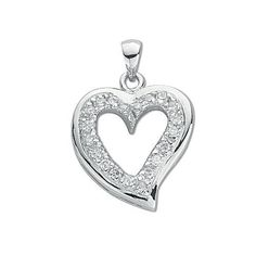 925 Sterling Silver Heart CZ Rhodium Plated 25mm Drop Pendant -Boxed- Free Post