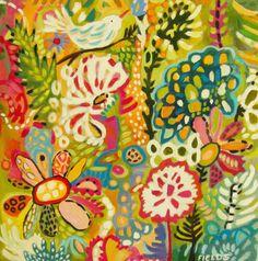 Birds Flowers Bohemian Art PRINT Decorative by karenfieldsgallery print on Etsy 18.00