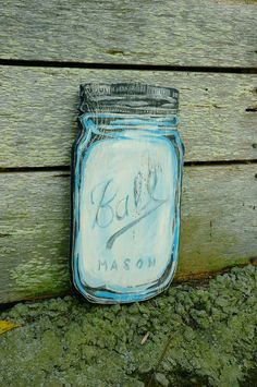Mason Jar Wall Art blue mason jar acrylic painting on canvas, mason jar wall art