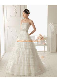 2013 Neue romantische Brautkleider aus Organza und Satin A-Linie mit Applikation