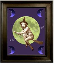 8x10 Art Print  Witch Flying by Moon  Altered Art  by fringepop, $10.00