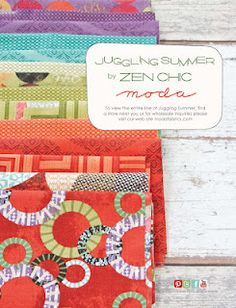 New Moda designer.  Juggling Summer by Zen Chic is featured in American Quilt Retailer  Quilt Market issue  Juggling Summer will be in stores October 2012