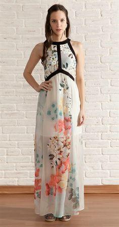 Vestido Longo Chifon Floral