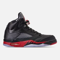 1ba0a258e81c83 Right view of Men s Air Jordan 5 Retro Basketball Shoes in Black University  Red