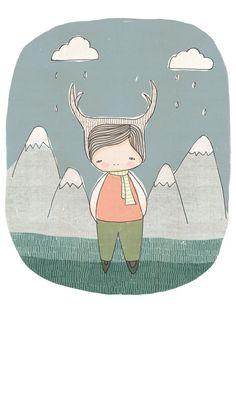 Children Art Print - Deer boy in Swiss Mountains (Scandinavian). $16,00, via Etsy.
