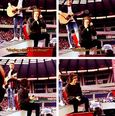 Harry sings with his sore throat so Niall kicks him to tell him to stop!! Hehe