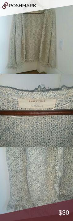 Zara Fringe Cardigan Size M zara open  cardigan with fringe detail all around Zara Sweaters Cardigans
