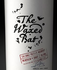 The Waxed Bat shiraz wine, packaging design by Stranger & Stranger