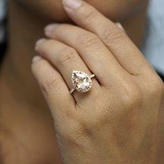 Morganite pear 12x8 diamond halo engagement ring 14k rose gold