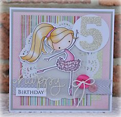 Ballet card with blonde hair Tiddly Inks stamp