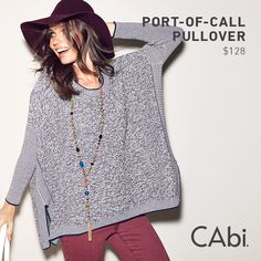 A fabulous navy, gray and white marled yarn sweater in our beloved slouch tee silhouette from CAbi's newest release, FanciFALL Me! Coming soon on October 14th.