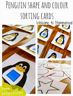 Penguin Shape & Color Sorting Cards (free; from Welcome to Mommyhood)