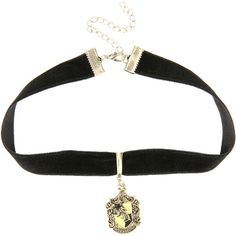 WB Harry Potter Hufflepuff Black Velvet Choker ($5.95) ❤ liked on Polyvore featuring jewelry, necklaces, harry potter, hufflepuff, accessories, multi, warner bros., velvet necklace, velvet choker and velvet choker necklace