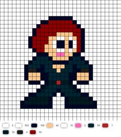 Black Widow (Avengers) Perler Bead Pattern