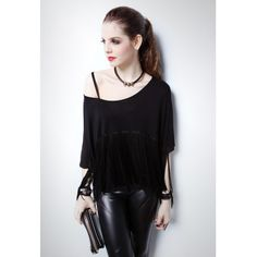 Women New Vogue Individual Black Scoop Batwings Middle Sleeve Tassel... ($16) via Polyvore