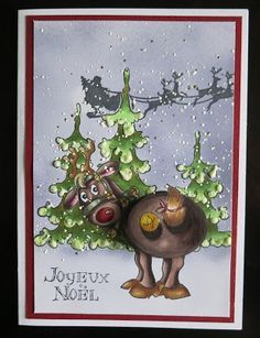 Art Impressions Rubber Stamps: Ai Shakers: Jingle Set (Sku#4681) Handmade Christmas card. winter, reindeer, deer, Santa, trees, Rudolph