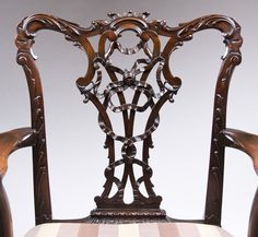 19th C. Mahogany Ribbon Carved Chippendale Armchair from piatik on Ruby Lane