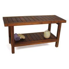 Aqua Teak Spa Bench with Shelf 36 in. Wide - Shower Seats at Hayneedle