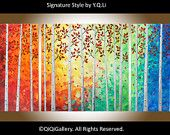 """48"""" Large Art Abstract Landscape and Scenic Painting Palette Knife Impasto Tree Painting Office Wall Decor """"Autumn Woods"""" by QIQIGallery"""
