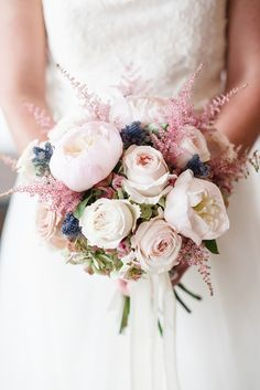 Astilbe. thistle. peonies. roses. Florals: Blossom Artistry. Photo by http://emilymillayphotography.com/