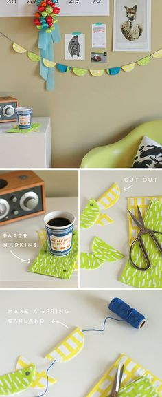 Cute DIY Room Decor Ideas for Teens - DIY Bedroom Projects for Teenagers - Paper Napkin Garland Tutorial
