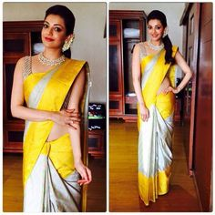 Celebrity Style Check! Kajal Aggarwal was spotted in a tie-n-dye ikkat Kanjeevaram saree with a traditional yellow border inspired from the 16th century temple art. The sari she wore recently for a launch was a pure amalgamation of traditional korvai weaving of Kanchipuram and contemporary ikkat of Andhra Pradesh.