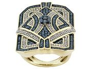 1.20ctw Round Blue Velvet Diamond(Tm) & White Diamond Engild(Tm) 14k Yellow Gold Over Silver Ring (TCC556)