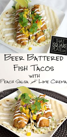 Beer Battered Fish Tacos with Peach Salsa There's something about fish tacos. especially when they're made with fresh mahi and deep fried with a light beer batter, topped with a peach salsa and finished with lime crema! Beer Recipes, Fish Recipes, Seafood Recipes, Mexican Food Recipes, Dinner Recipes, Cooking Recipes, What's Cooking, Yummy Recipes, Dinner Ideas
