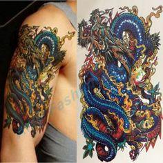 ca30628cd608f Waterproof Large Temporary Tattoo Stickers Men Arm Leg Fake Transfer Tattoo  Dragon Lion Newest Products Tatuagem