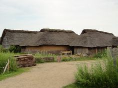 Viking villages have been reconstructed based on archeological evidence. This one is at Hedeby in what was once part of Denmark. Vikings, Medieval Village, Viking Images, Fantasy Village, Town Names, Viking Ship, Village Houses, Anglo Saxon, Historical Architecture