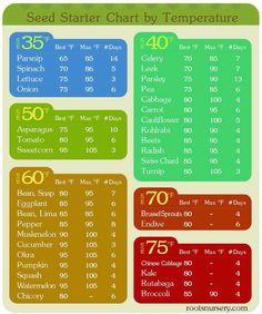 Seed Starter Chart for vegetable garden