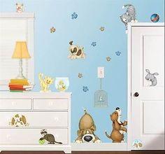 23 Pet Shop Animals Wall Decals Bed Bath Room Stickers Nursery Cat Dog Bunny